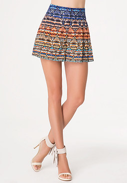 bebe Print Embroidered Shorts