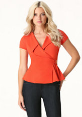 bebe Cascade Neck Peplum Top
