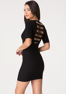 bebe Lace Back Detail Dress