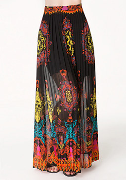 bebe Print Pleated Maxi Skirt