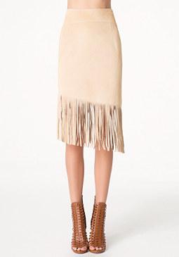 bebe Angled Fringe Suede Skirt