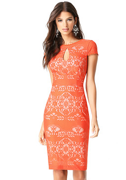 bebe Lace Keyhole Dress