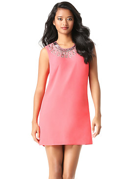 bebe Jeweled Neck Shift Dress