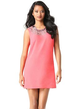 bebe Jeweled Neck Shift Dress
