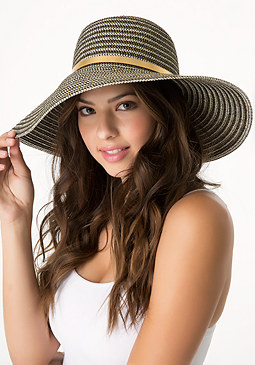 bebe Metallic Striped Floppy Hat
