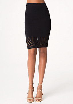bebe Curved Slash Detail Skirt