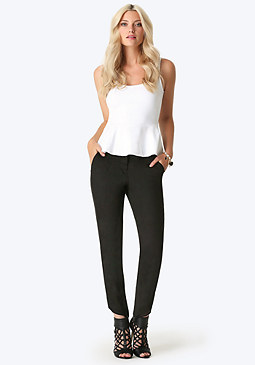 bebe Lauren Chiffon Trim Pants