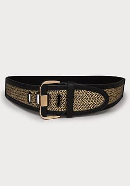 bebe Metallic Woven Stretch Belt