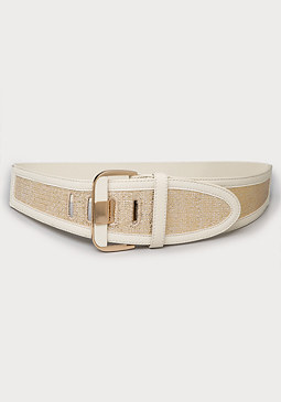 bebe Metallic Woven Stretch Belt