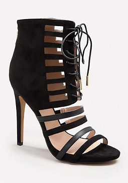 bebe Samirra Laced Cage Booties