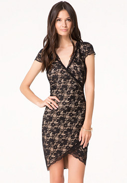bebe Lace Tulip Hem Dress
