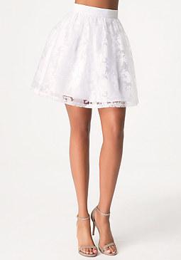 bebe Sheer Floral Circle Skirt