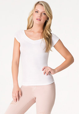 bebe Double V-Neck Ribbed Tee