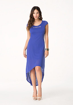 bebe Logo Burnout Hi-Lo Dress