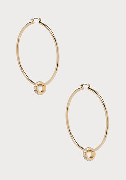 bebe Baguette Hoop Earrings