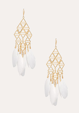 bebe Geometric Feather Earrings
