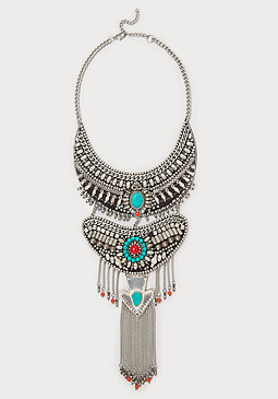 bebe Beaded Tribal Bib Necklace