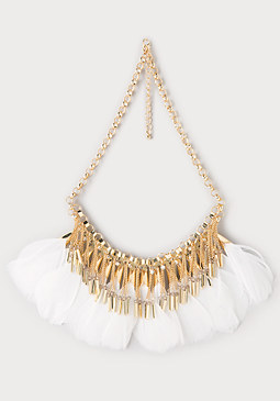 bebe Fringe & Feather Necklace