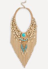 bebe Bead & Fringe Necklace