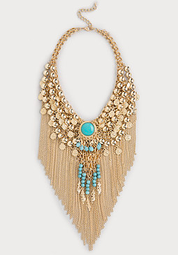 bebe Bead & Fringe Necklace