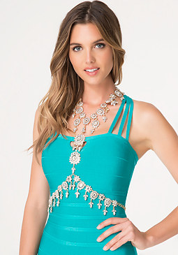 bebe Crystal Flower Body Jewelry