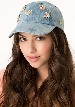 bebe Jeweled Chambray Ball Cap