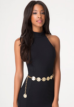 bebe Hammered Discs Chain Belt