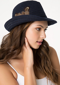 bebe Feather Trimmed Trilby