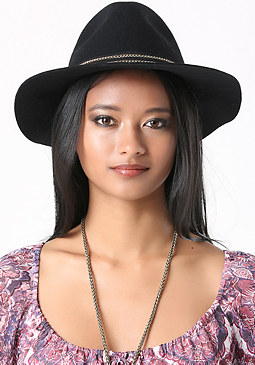 bebe Chain Trim Panama Hat