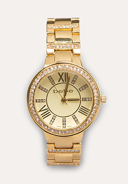 bebe Crystal Bezel Link Watch
