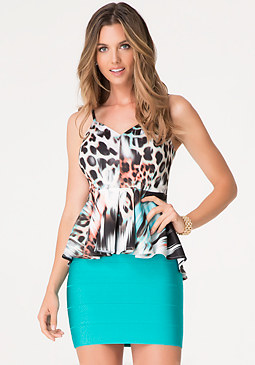 bebe Print Pleated Peplum Top