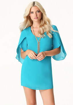 bebe Draped Sleeve Shift Dress