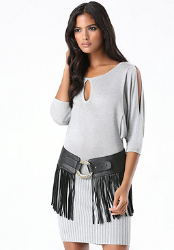 bebe Leather Fringe Belt