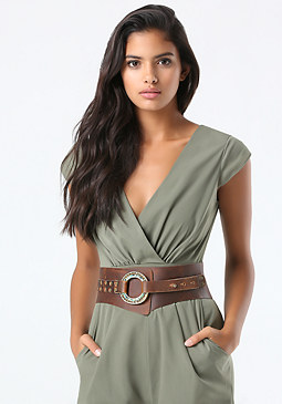 bebe Stone Circle Leather Belt