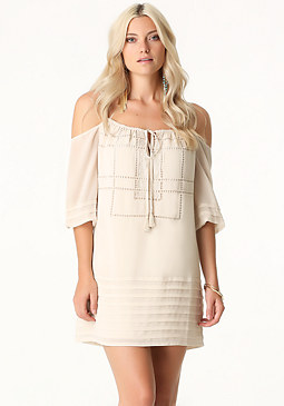 bebe Petite Pleated Shift Dress