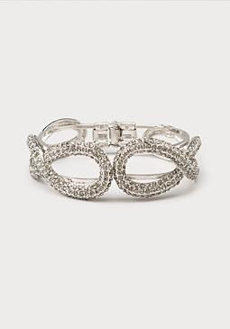 bebe Crystal Oval Hinge Bracelet