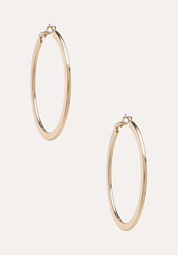 bebe Smooth Metal Hoop Earrings