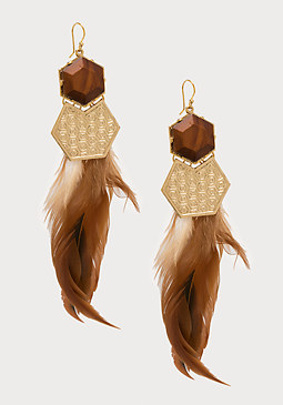 bebe Feather Statement Earrings