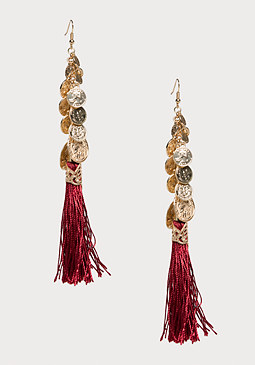 bebe Coin & Tassel Earrings