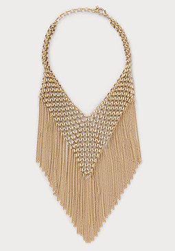 bebe Chainmail & Fringe Necklace