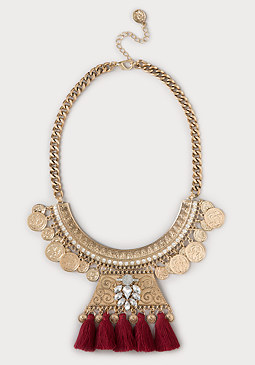 bebe Coin & Tassel Necklace