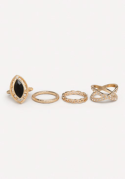 bebe Gemstone Mixed Ring Set
