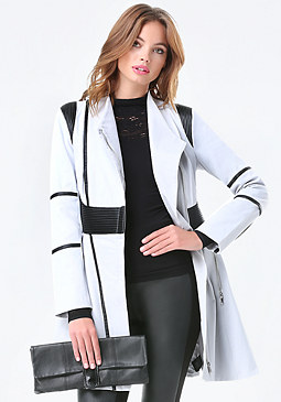 bebe Pintuck Swing Trench Coat
