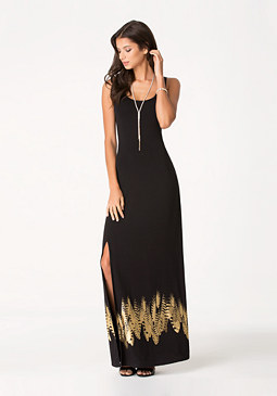 bebe Petite Feather Maxi Dress