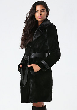 bebe Faux Fur Trench Coat