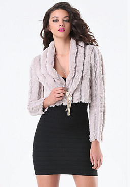 bebe Striped Faux Fur Jacket