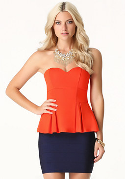 Sweetheart Peplum Top at bebe