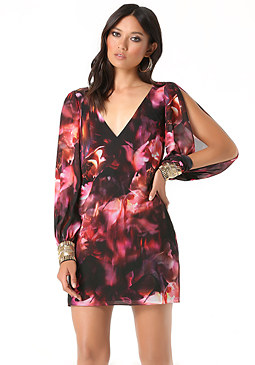 bebe Print Chiffon Shift Dress