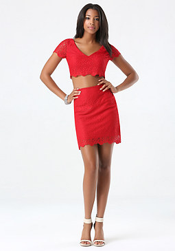 bebe Scallop Lace 2-Piece Dress