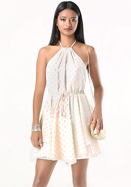 bebe Chiffon Halter Dress